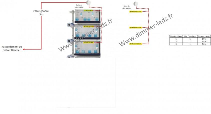 Pack Ruban LED 6 étages : 6 X60 Cm +3 m cables